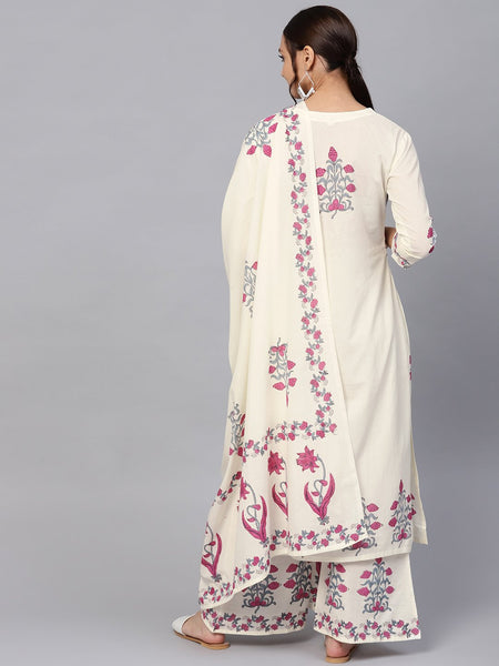 Ishin Women's Cotton Off White Printed A-Line Kurta Palazzo Dupatta Set