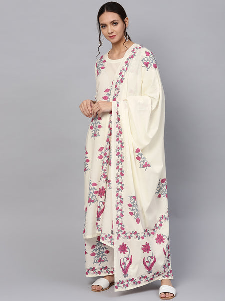 Ishin Women's Cotton White Printed A-Line Kurta Palazzo Dupatta Set