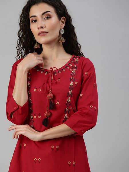 Ishin Women's Red Yoke Design A-Line Kurta Trouser Set