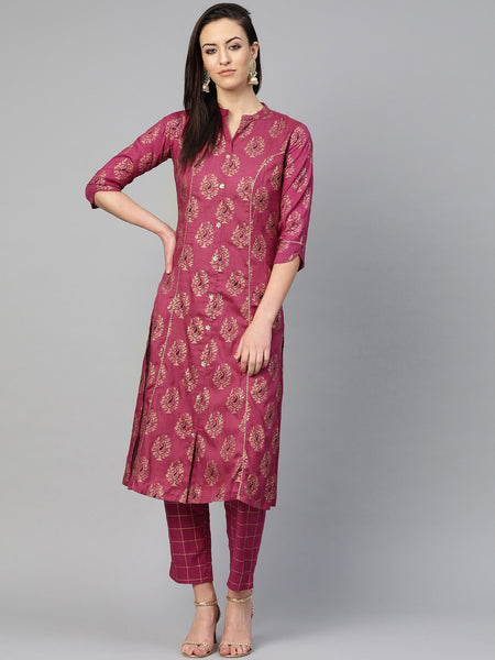 Ishin Women's Cotton Purple Foil Printed Gota Patti A-Line Kurta Trouser Set