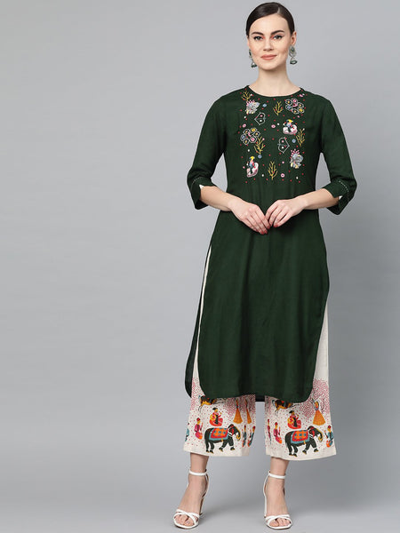 Ishin Women's Cotton Green Embroidered A-Line Kurta Palazzo Set