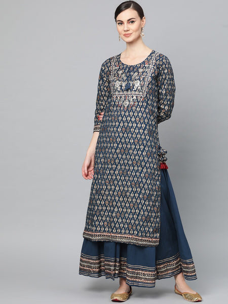 Ishin Women's Cotton Navy Blue Embroidered A-Line Kurta Palazzo Set