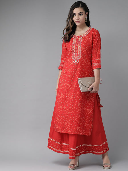 Ishin Women's Cotton Red Bandhani Print Embellished A-Line Kurta Sharara Set