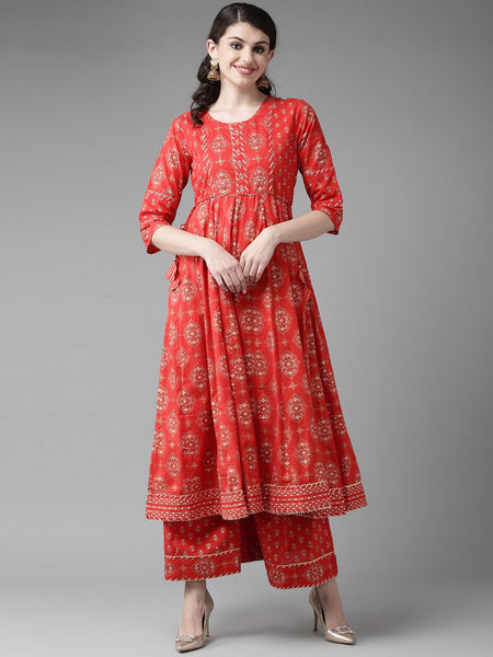 Ishin Women's Cotton Red Foil Print Gota Patti Anarkali Kurta Palazzo Set