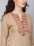 Ishin Women's Rayon Grey Printed A-Line Kurta Sharara Set