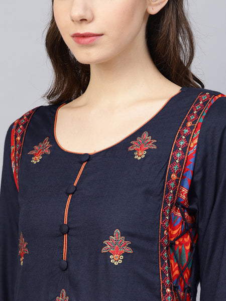 Ishin Women's Rayon Blue Embroidered Anarkali Kurta
