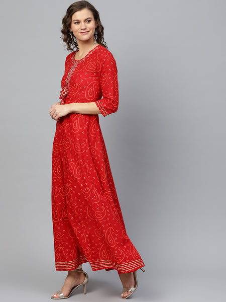 Ishin Women's Cotton Red Embellished With Gota Patti Anarkali Kurta