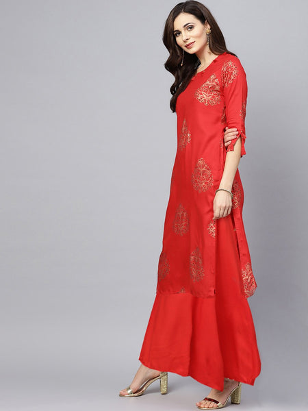 Ishin Women's Rayon Red Foil Printed With Sequin Work A-Line Kurta