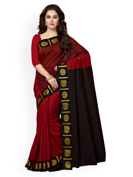 Ishin Chanderi Cotton Red Solid With Golden Zari Border Women's Saree/Sari
