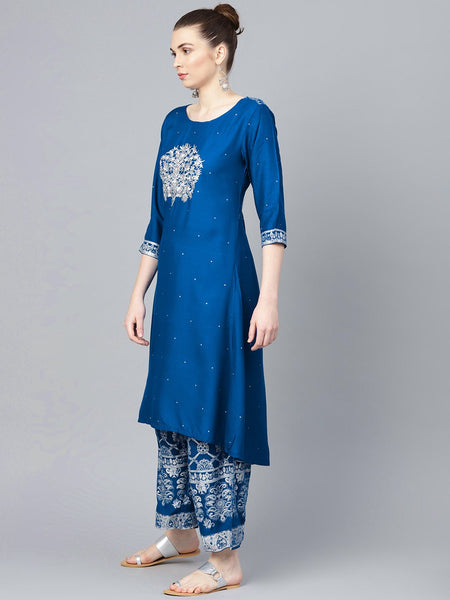 Ishin Women's Rayon Blue Embroidered A-Line Kurta Palazzo Sets
