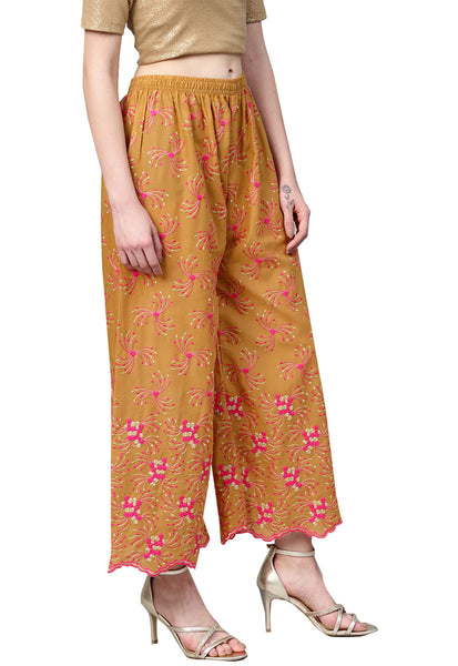 Ishin Women's Cotton Beige Embroidered Palazzo