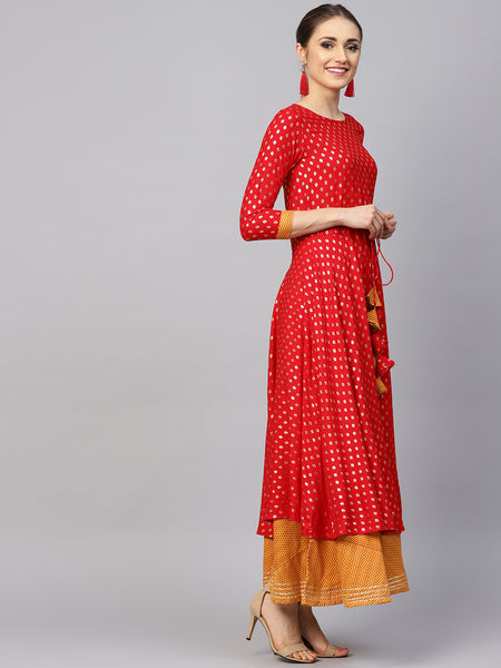 Ishin Women's Red & Mustard Printed Anarkali Kurta Skirt Set
