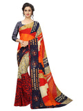 Ishin Poly Georgette Mulicolor Printed Women's Saree/Sari