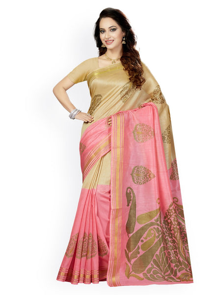 Ishin Art Silk Beige & Pink Ethnic Motifs Printed Women's Saree Including Blouse Piece