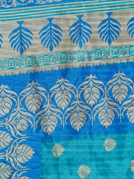 Ishin Poly Silk Blue Printed Women's Saree