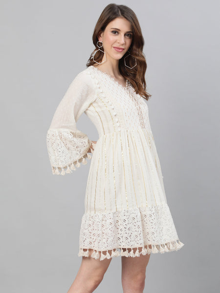 Ishin Women's Cotton Off White Lurex Embellished A-Line Dress