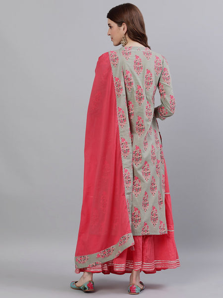 Ishin Women's Cotton Sea Green & Pink Gota Patti A-Line Kurta Skirt Dupatta Set