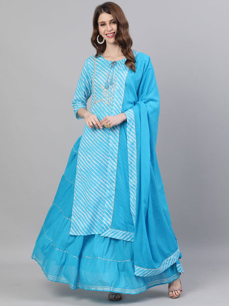 Ishin Women's Cotton Blue Embroidered A-Line Leheriya Kurta Skirt Dupatta Set