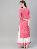 Ishin Women's Cotton Pink  Embellished A Line Kurta Skirt Set