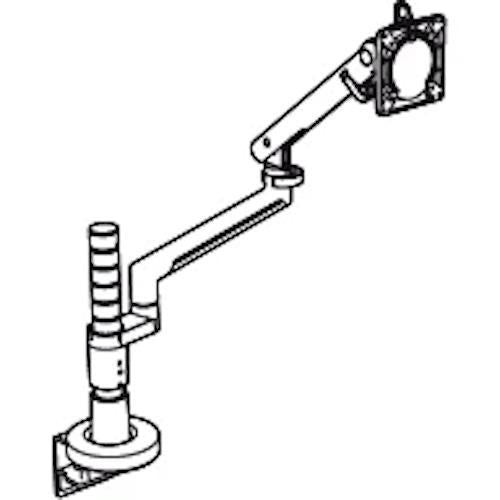 Colebrook Bosson Saunders Flo Single Monitor Arm with Wishbone Post and Desk Clamp - e-furniture