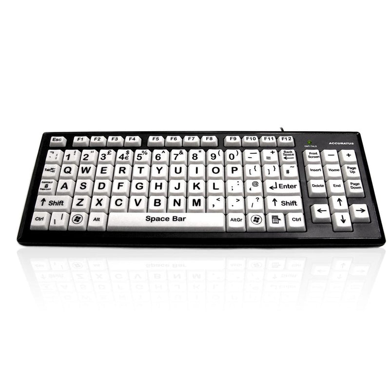 Accuratus Monster Keyboard, White Keys, Black Upper Case Letters - e-furniture