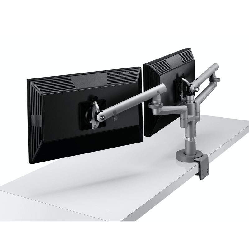 Colebrook Bosson Saunders Flo Dual Monitor Arm with Wishbone Post and Desk Clamp - e-furniture