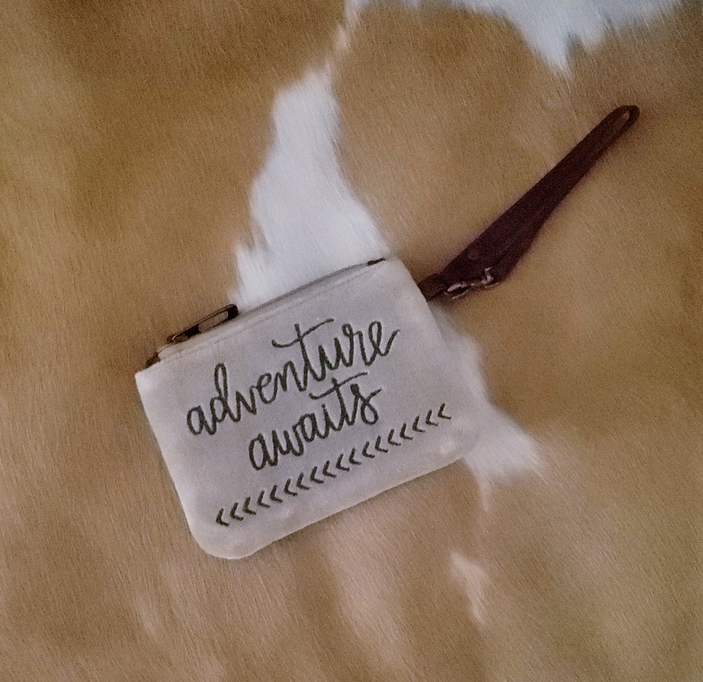 """Adventure Awaits"" Plush Wristlet"