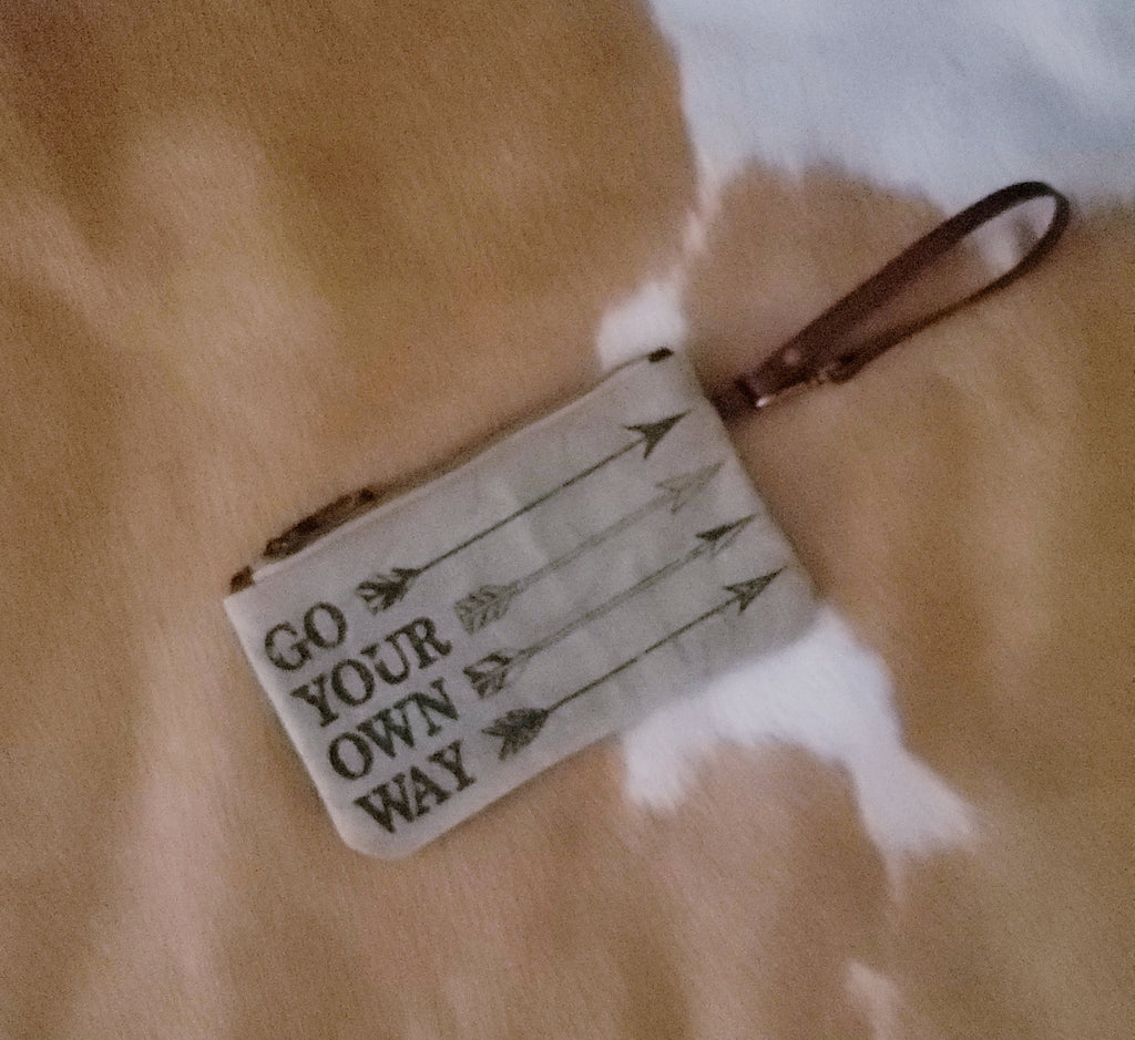 """Go Your Own Way"" Canvas Wristlet"