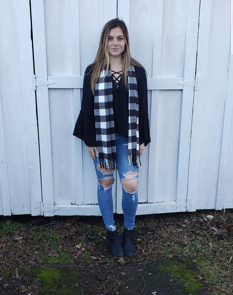BLOWOUT SALE #12! Black and White Buffalo Plaid Scarf