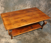 Reclaimed Barnwood Cabriole Leg Coffee Table with Shelf