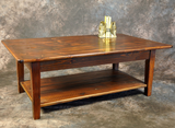 Reclaimed Barnwood Straight Leg Coffee Table with Shelf
