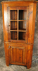 Reclaimed Barnwood Glass Door Raised Panel Corner Cupboard