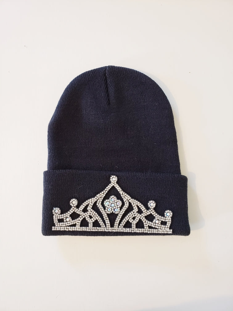 Blingy Crown Black Knit Hat