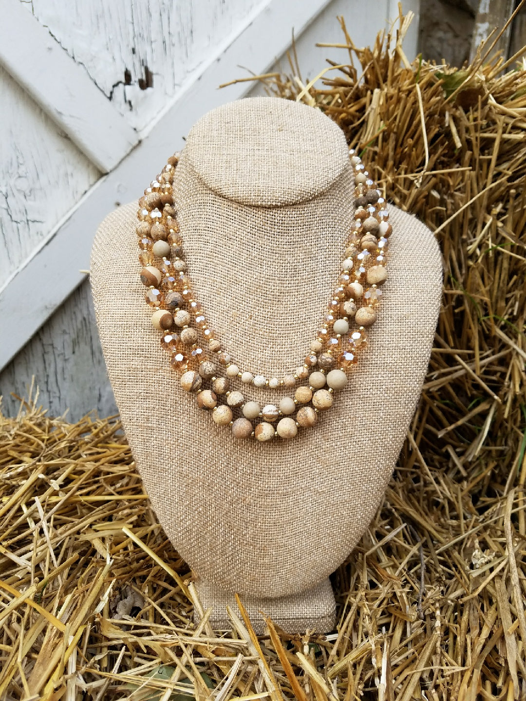 Three Strand Stone and Crystal Beaded Necklace