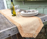 Burlap Runner with Vintage Lace