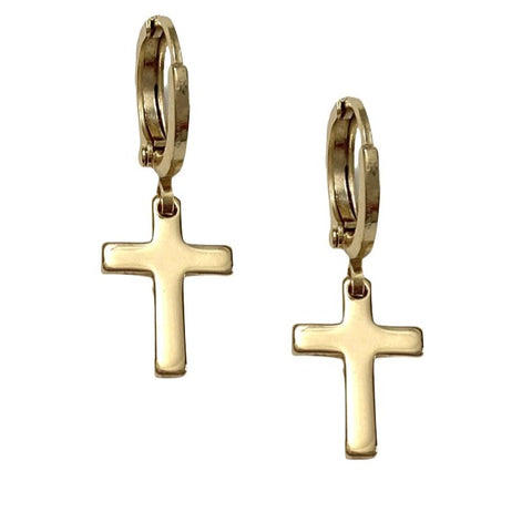2 Charm Layer Brass Necklace Cross