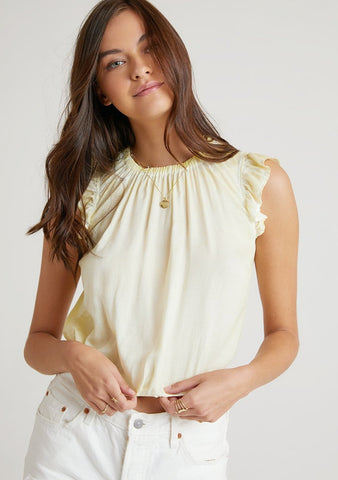 Sleeveless V-Neck Gauze Top with Ruffles