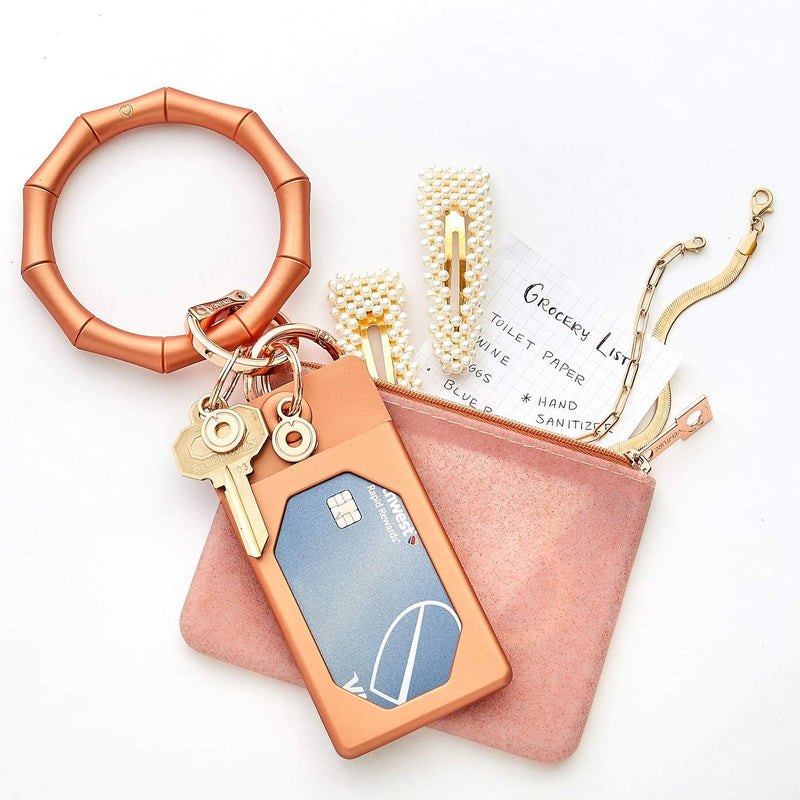 Rose Gold Bamboo Silicone Key Ring