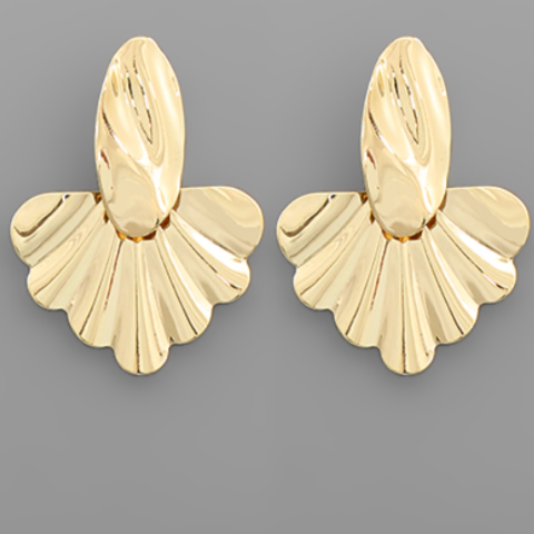 Gold Dipped Oval & Fan Earrings