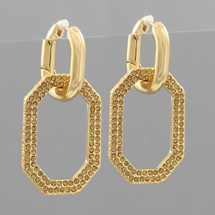 Gold & Topaz Crystal Pave Octagon Dangle Hoops