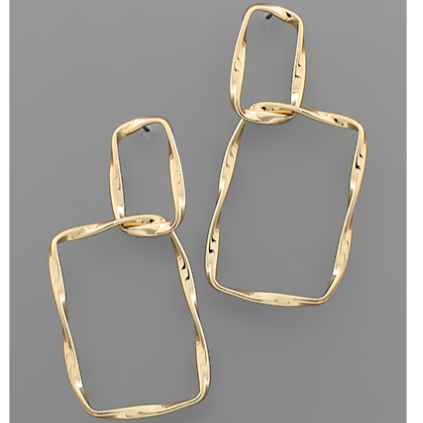 2 Twisted Rectangle Earrings