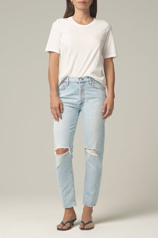 Farrah Ankle Raw Hem in White