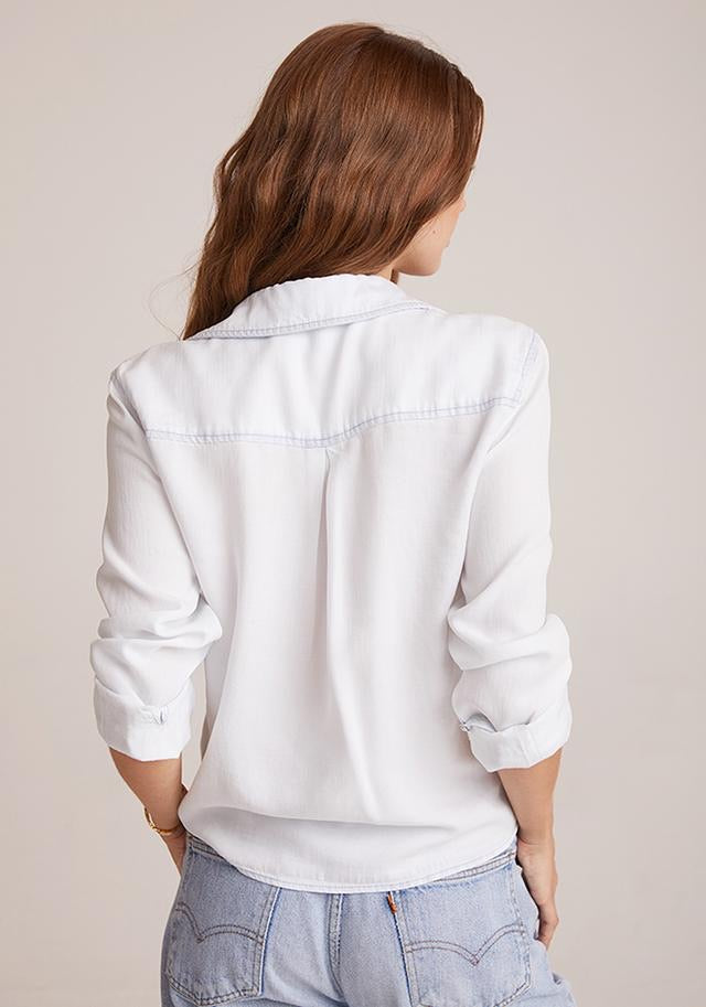 Two Pocket Tie Front Button Down Top