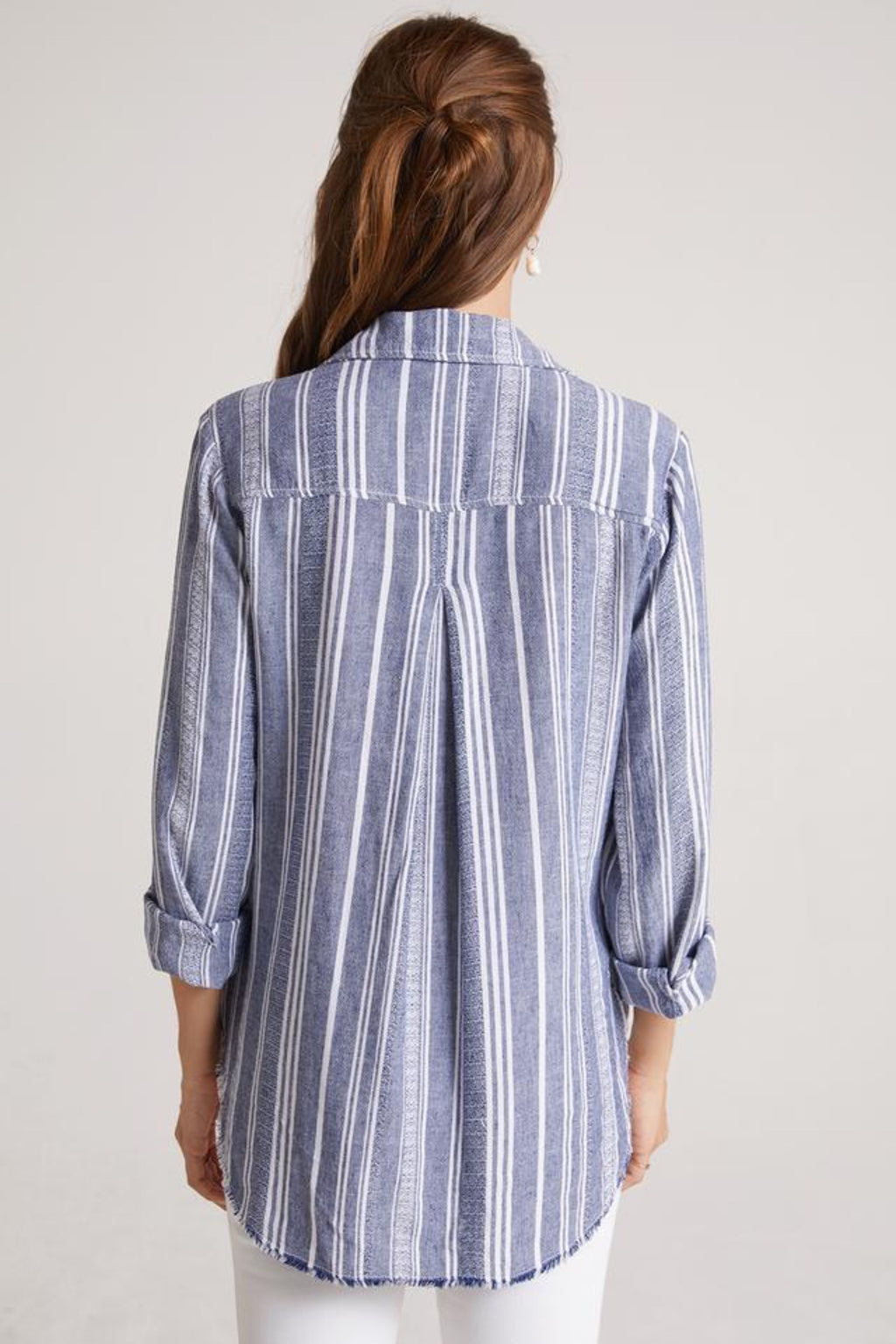 Frayed Classic Button Down Top