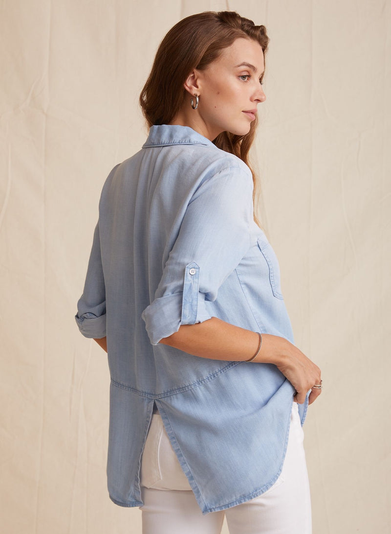 Sun Bleach Split Back Button Down Top