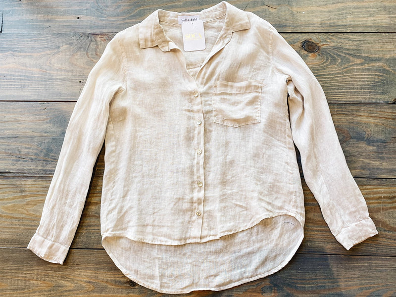 Tissue Linen Pocket Button Down Top
