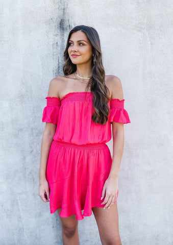 Tiered Mini Dress with Ruffle Neck Detail