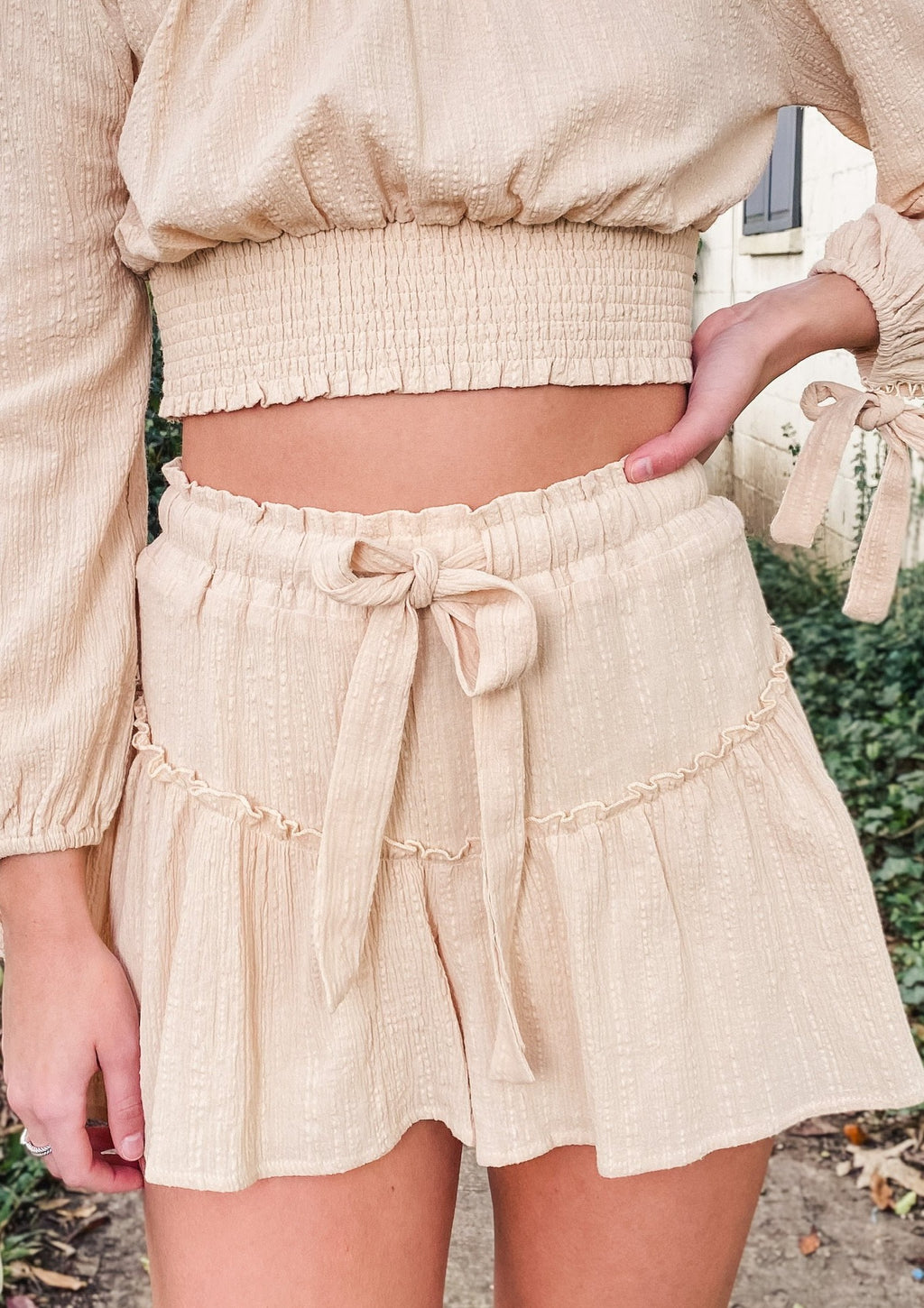 Tie Waist Ruffle Mini Skirt