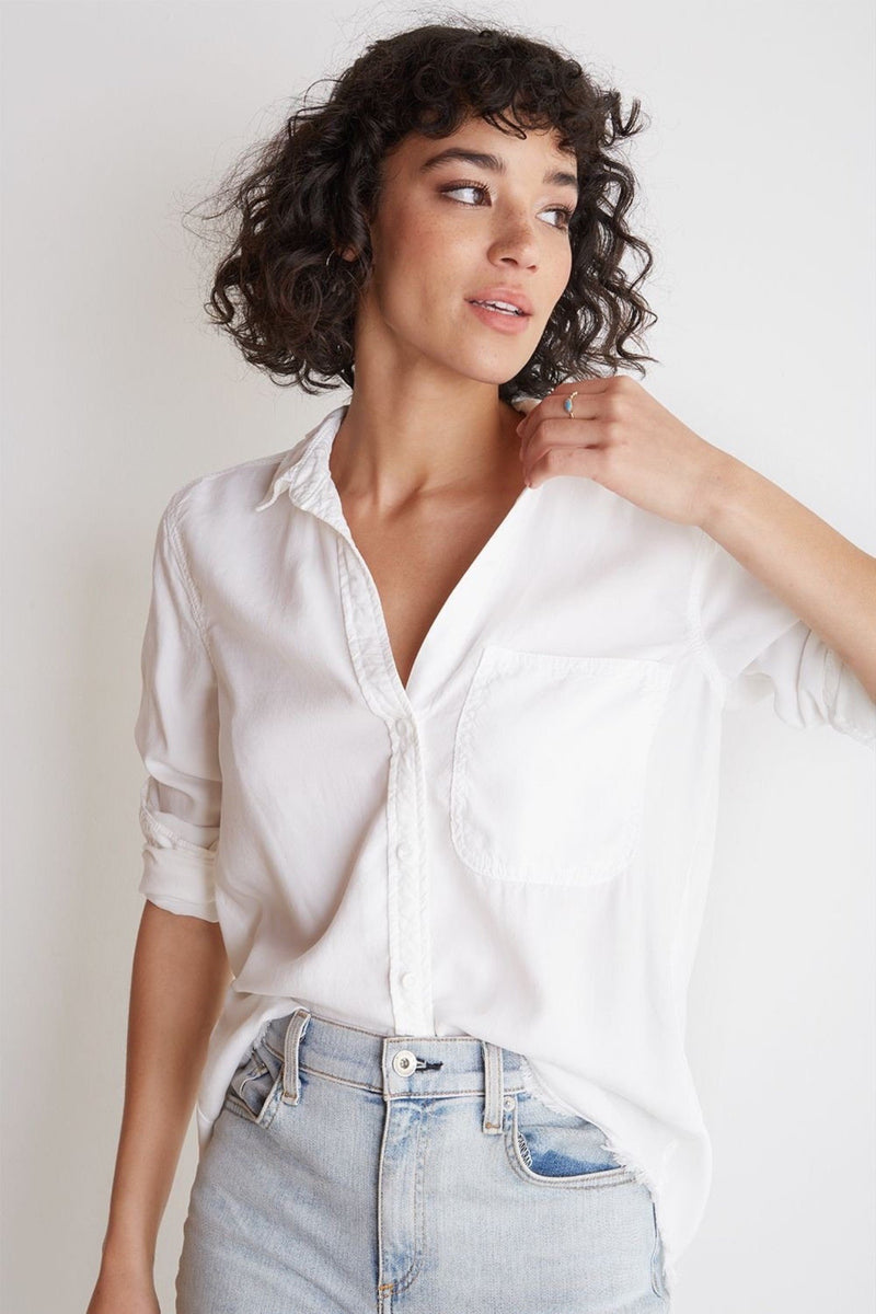 Frayed Hem Button Down Top /