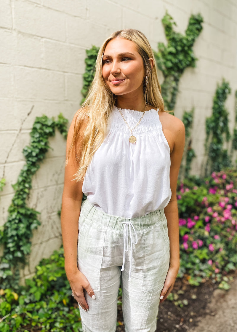 Smocked Halter Neck Top